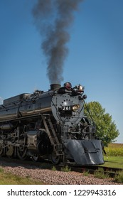 BONGARDS, MN – SEPTEMBER 8, 2018: The Milwaukee Road #261 steam train stopped during its annual Fall Tour from Minneapolis, MN to Glencoe, MN.
