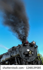 BONGARDS, MN – SEPTEMBER 8, 2018: Smoke of the Milwaukee Road #261 steam train as it prepares to depart on its annual Fall Tour from Minneapolis, MN to Glencoe, MN.