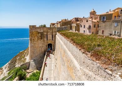 Bonifacio, Corsica, France - July 19, 2017: Bonifacio fortress and city on a beautiful day