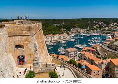 Bonifacio, Corsica, France - July 19, 2017: Fortress and marina in Bonifacio on a beautiful day