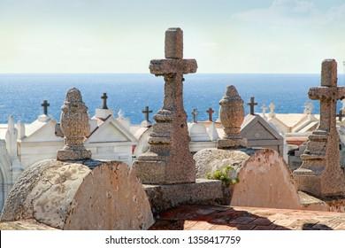BONIFACIO, CORSICA, FRANCE - SEPTEMBER 14, 2013: Marin Cemetery in Bonifacio - Picturesque Capital of Corsica, France