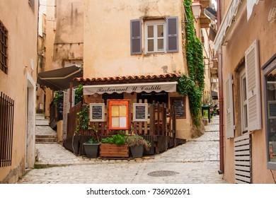BONIFACIO, FRANCE - OCTOBER 14, 2014: An alley in the old city of Bonifacio, in Corsica, France