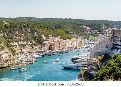 Bonifacio marina and bay on a beautiful day, Corsica, France