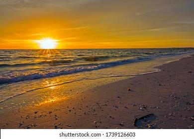Bonita Springs Barefoot Beach sunset. Florida beautiful west coast.