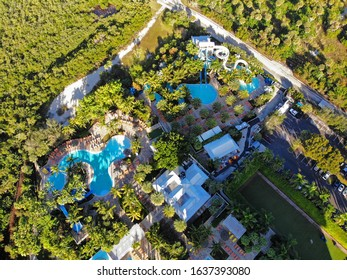 BONITA SPRINGS, FL -30 JAN 2020- Aerial view of the Hyatt Regency Coconut Point Resort and Spa, a luxury hotel with swimming pools located on Estero Bay in Bonita Springs, Florida, near Fort Myers.