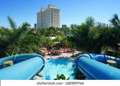 BONITA SPRINGS, FL -30 JAN 2020- A giant aquatic water slide in a swimming pool at the Hyatt Regency Coconut Point Resort and Spa in Bonita Springs, Florida, close to Fort Myers.