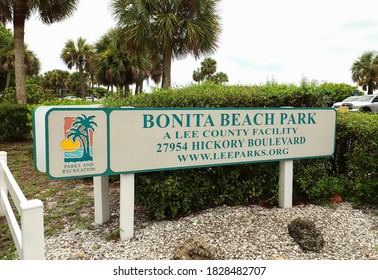 BONITA SPRINGS, FLORIDA, USA: Bonita Beach Park sign, the public park is located between Fort Myers Beach and Bonita Springs, a 2.5 acre beachfront park as seen on July 21, 2020.