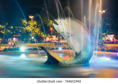 Bonito, Brazil - November 17, 2017: Fountain with two sculptures of Piraputanga fishes jumping on the water on the Praca da Liberdade square. Square at night with tourists around.