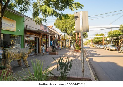 Bonito - MS, Brazil - June 24, 2019: Commerce around the main street of the city on downtown, Coronel Pilad Rebua street. Shops tha sells souvenirs and crafts, touristic destination of Bonito.