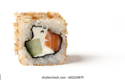A Bonito roll with some cream cheese, a salmon and some smoked tuna shavings