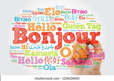 Bonjour (Hello Greeting in French) word cloud in different languages of the world with marker, background concept