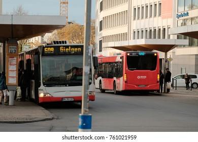 Bonn, Germany, 19 of November 2017: Bus Stop In The Center Of Bonn-city