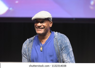 Bonn, Germany. 20th Oct 2017. Tony Todd (* 1954), US actor, talking about his experiences during a panel at Fear Con, a horror fan convention