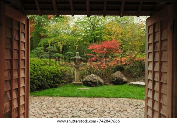 Bonn, Germany, 25 of October 2017: Entrance of Japan Garden in Bonn