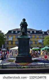 Bonn, Bonn / Germany - April 21 2018: Beethoven  monument statue