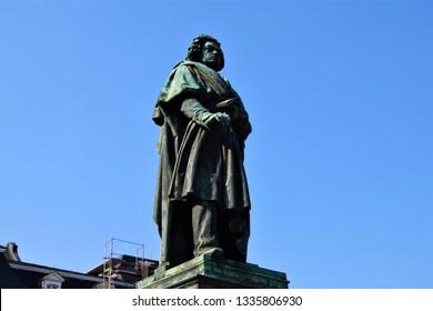 Bonn, Bonn / Germany - April 3 2018: Beethoven statue closeup with clear blue sky