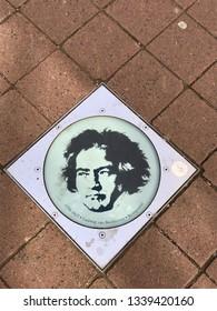 Bonn, Bonn / Germany - April 8 2018: Beethoven plaque on street