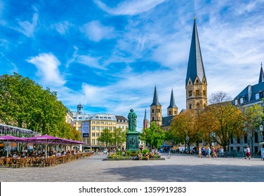BONN, GERMANY, AUGUST 12, 2018: Munsterplatz in the center of Bonn, Germany