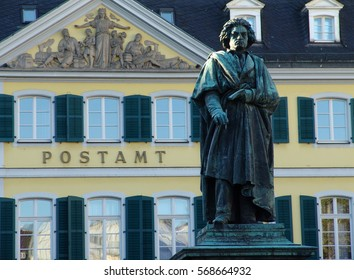 BONN, GERMANY - CIRCA 2013: Beethoven Monument in Bonn, Germany captured in 2013. Sculpture made by Ernst Haehnel in 1845 has become a symbol of Bonn.