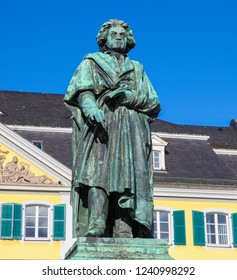 Bonn, Germany - February 16, 2014: Famous Beethoven Monument in front of the Postamt in Bonn, North Rhine Westphalia, Germany
