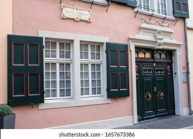 Bonn, Germany - February 17th 2020: The exterior of Beethoven-Haus, or Beethoven House in the city of Bonn, Germany. The house was the birthplace of famous composer Ludwig van Beethoven in 1770.