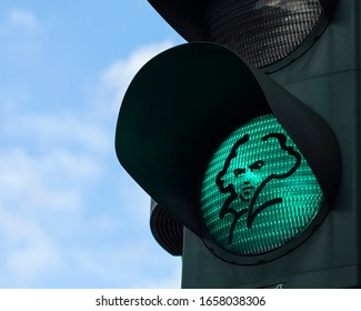 Bonn, Germany - February 17th 2020: A portrait of famous composer Ludwig van Beethoven on a green traffic light in the city of Bonn in Germany.  Beethoven was born in Bonn in 1770.
