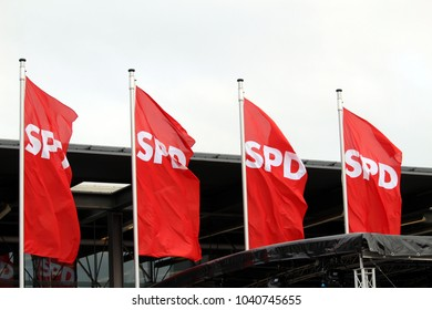 Bonn, Germany - January 21 2018: Flags at the WCCB World Conference Center during the Special Party Convention of the Social Democratic Party of Germany (SPD) discussing a new grand coalition (GroKo)