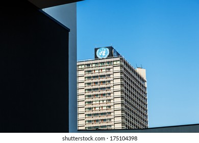 BONN, GERMANY - JANUARY 31: skyscraper -Langer Eugen- on January 31, 2014 in Bonn. It was formerly the house of representatives and  houses today the United Nations Campus with Center in Bonn.