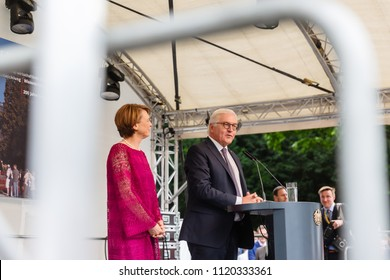 Bonn, Germany - June 24, 2018: The Federal President of Germany, Frank Walter Steinmeier, and his wife representing themselves to the public on an open house day at the Villa Hammerschmidt.