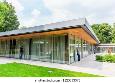 Bonn, Germany - June 24, 2018: Kanzlerbungalow with unidentified people at a public house day. The bungalow was used as residence for the German Chancellor during the time, Bonn was capital of Germany