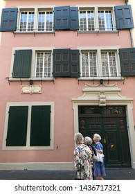 Bonn, Bonn / Germany - June 28 2019: Ludwig van Beethoven House museum facade exterior street view daytime