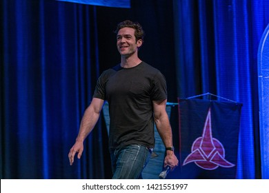 Bonn, Germany - June 8 2019: Ethan Peck (*1986, American actor -  Star Trek: Discovery) speaking at FedCon 28, a four day sci-fi convention. FedCon 28 took place Jun 7-10 2019.
