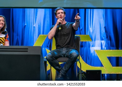 Bonn, Germany - June 8 2019: Lori Dungey and Ethan Peck at FedCon 28, a four day sci-fi convention. FedCon 28 took place Jun 7-10 2019.