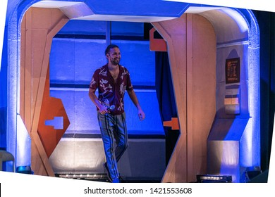Bonn, Germany - June 8 2019: Shazad Latif (*1988, British actor - Star Trek: Discovery) entering the panel at FedCon 28, a four day sci-fi convention. FedCon 28 took place Jun 7-10 2019.