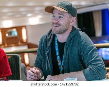 Bonn, Germany - June 8 2019: Aaron Ashmore (*1979, Canadian actor - Killjoys  ) is happy to meet fans at FedCon 28, a four day sci-fi convention. FedCon 28 took place Jun 7-10 2019.