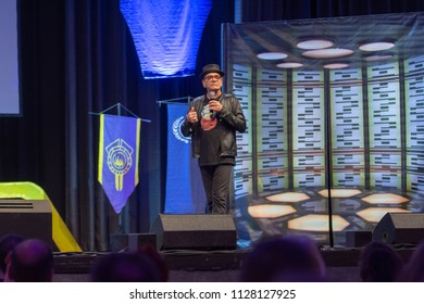 BONN, GERMANY - MAY 19th 2018: Robert Picardo (*1953, actor - Star Trek: Voyager, Stargate) talks about his experiences in Star Trek at Fedcon 27, a four day sci-fi fan convention