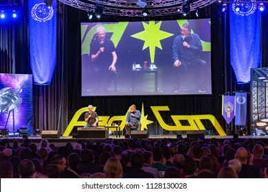BONN, GERMANY - MAY 19th 2018: Brent Spiner and Jonathan Frakes at Fedcon 27, a four day sci-fi fan convention