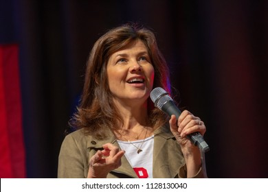 BONN, GERMANY - MAY 19th 2018: Daphne Zuniga (*1962, american actress - Spaceballs, Melrose Place. One Tree Hill) at Fedcon 27, a four day sci-fi fan convention