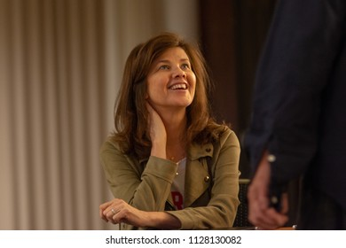 BONN, GERMANY - MAY 19th 2018: Daphne Zuniga (*1962, american actress - Spaceballs, Melrose Place. One Tree Hill) is happy to meet fans at Fedcon 27, a four day sci-fi fan convention