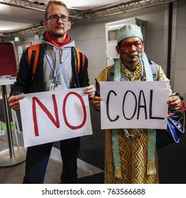 Bonn, Germany, November 13, 2017: Activists advocate clean, environmental friendly energy at the COP23 Fiji conference