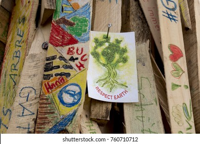 Bonn, Germany, November 14, 2017: Environmental artists in a park in Bonn advocating the sustainability of forests at the COP23 climate change conference.