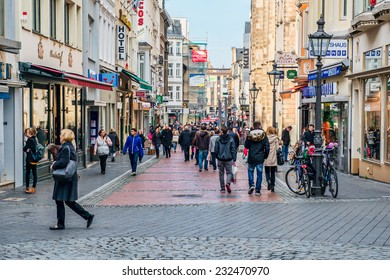 BONN, GERMANY NOVEMBER 22, 2014 - Unidentifed shoppers in Bonn, Germany. The city is the birthplace of composer Ludwig van Beethoven