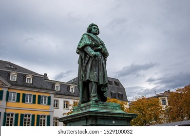 Bonn Germany - October 12, 2019: Monument to the German composer Ludwig van Beethoven at Munsterplatz