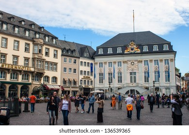 BONN, GERMANY - OCTOBER 21: The Old City Hall on the Market Square on October 21, 2012 in Bonn, Germany. Bonn is former capital of Germany with population of 330,000.