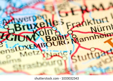 Bonn. Germany on a map