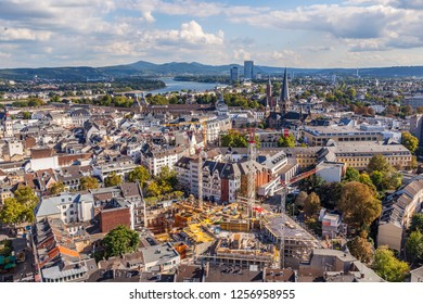 BONN, GERMANY - SEP 22, 2012: aerial of Bonn, the former capital of Germany with river Rhine in background.
