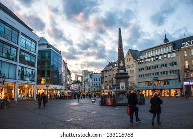 BONN, GERMANY - SEPTEMBER 24: Market Square on September 24, 2012 in Bonn, Germany. Bonn is former capital of Germany with population of 330,000.