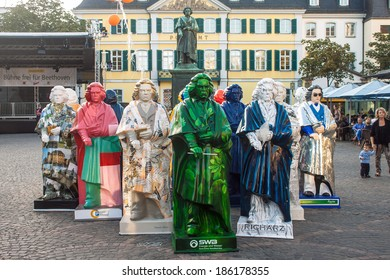BONN, GERMANY - SEPTEMBER 8: Exhibition of Beethoven statues during Beethoven festival on September 8, 2012 in Bonn, Germany. Famous composer Beethoven was born in Bonn.