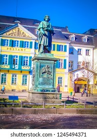 Bonn, North Rhine-Westphalia / Germany - 02 18 2010:  The statue of Beethoven in front of the colorful postamt in the former German capital city of Bonn on the Rhine river