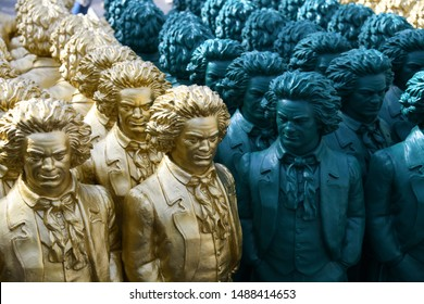 Bonn, North Rhine-Westphalia / Germany - May 14, 2019: Beethoven Sculptures of artist Ottmar Hoerl in Bonn, Münsterplatz, Germany - Ludwig van Beethoven was a German Composer and pianist